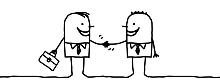 Illustrated characters shaking hands